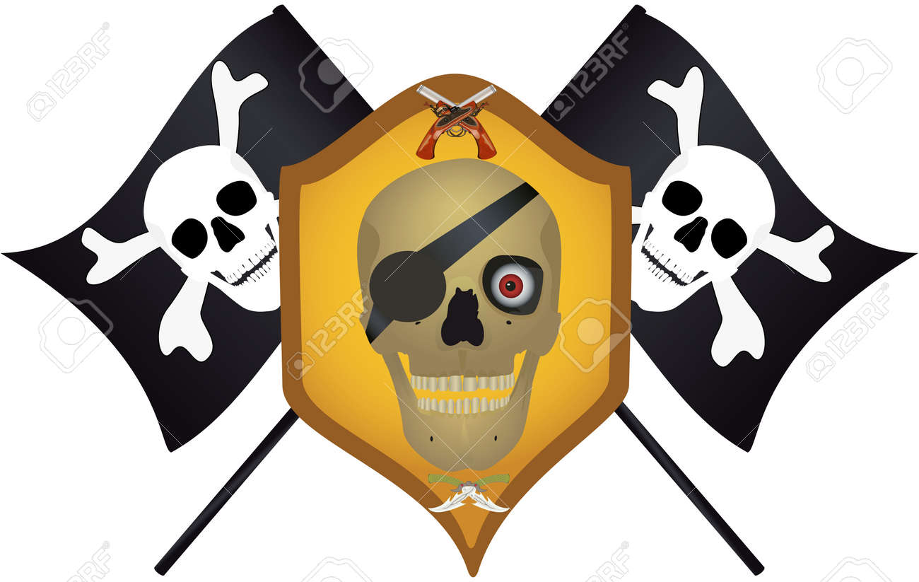 Skull with the crossed pistols and knifes, raster illustration. Stock Illustration - 9612783