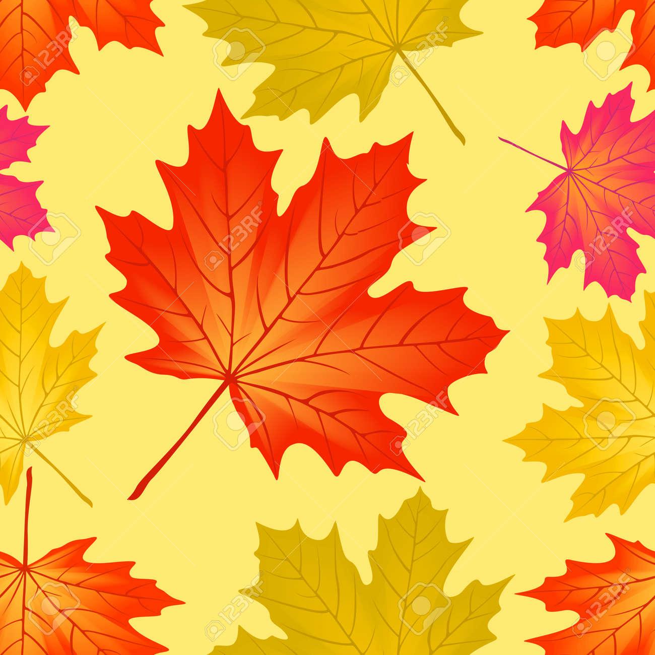 Seamless pattern autumn maple leaves. - 10493896
