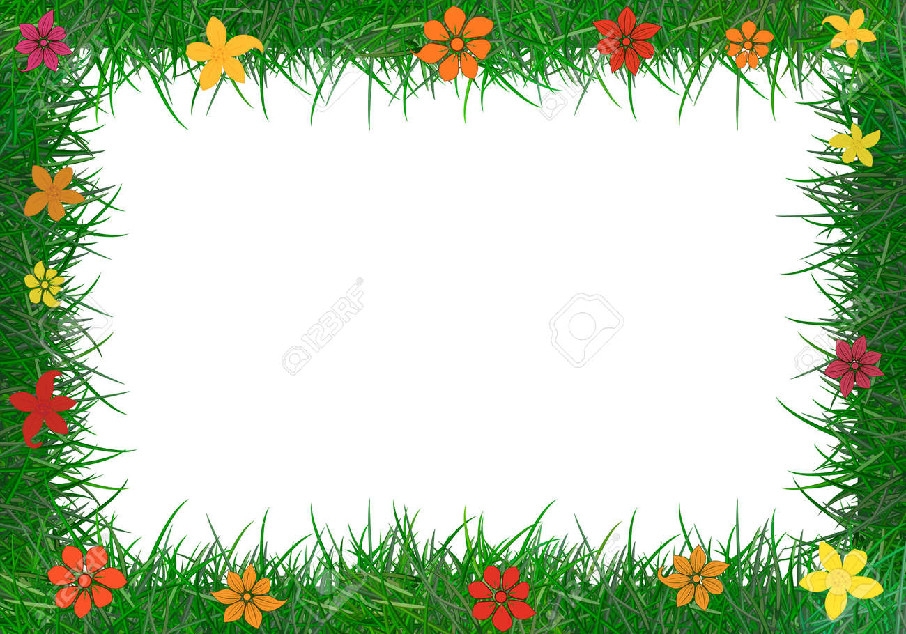 frame of green grass stock vector 20907084