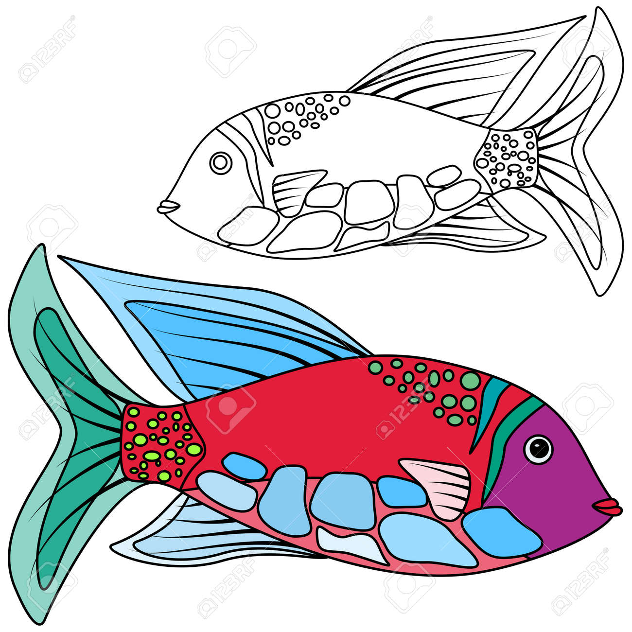 Fish Abstrac Kids Coloring Royalty Free Cliparts, Vectors, And Stock ...
