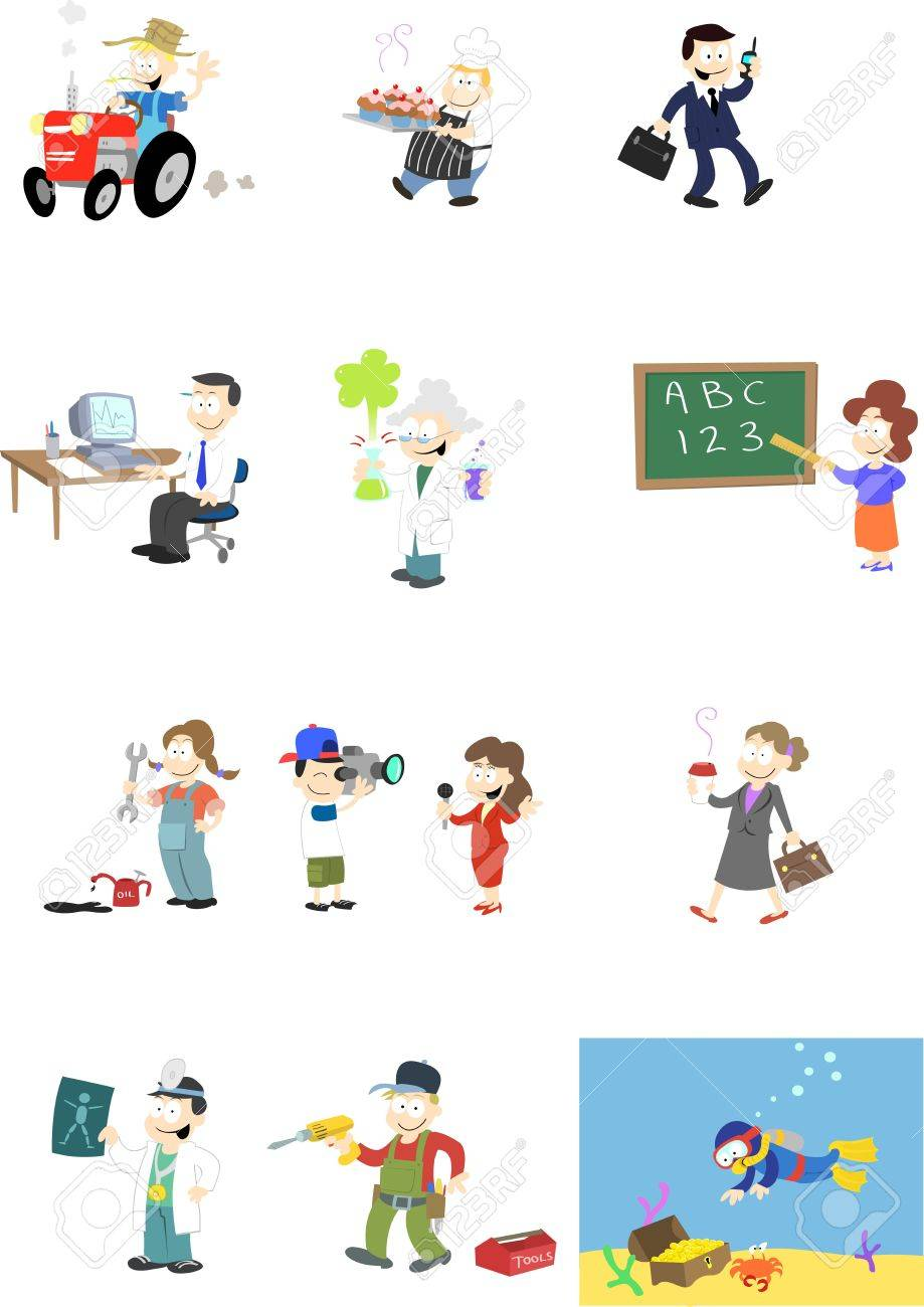 A collection of  characters in various professions.   Note: A second version of this design is available which includes backgrounds. Stock Vector - 6834201