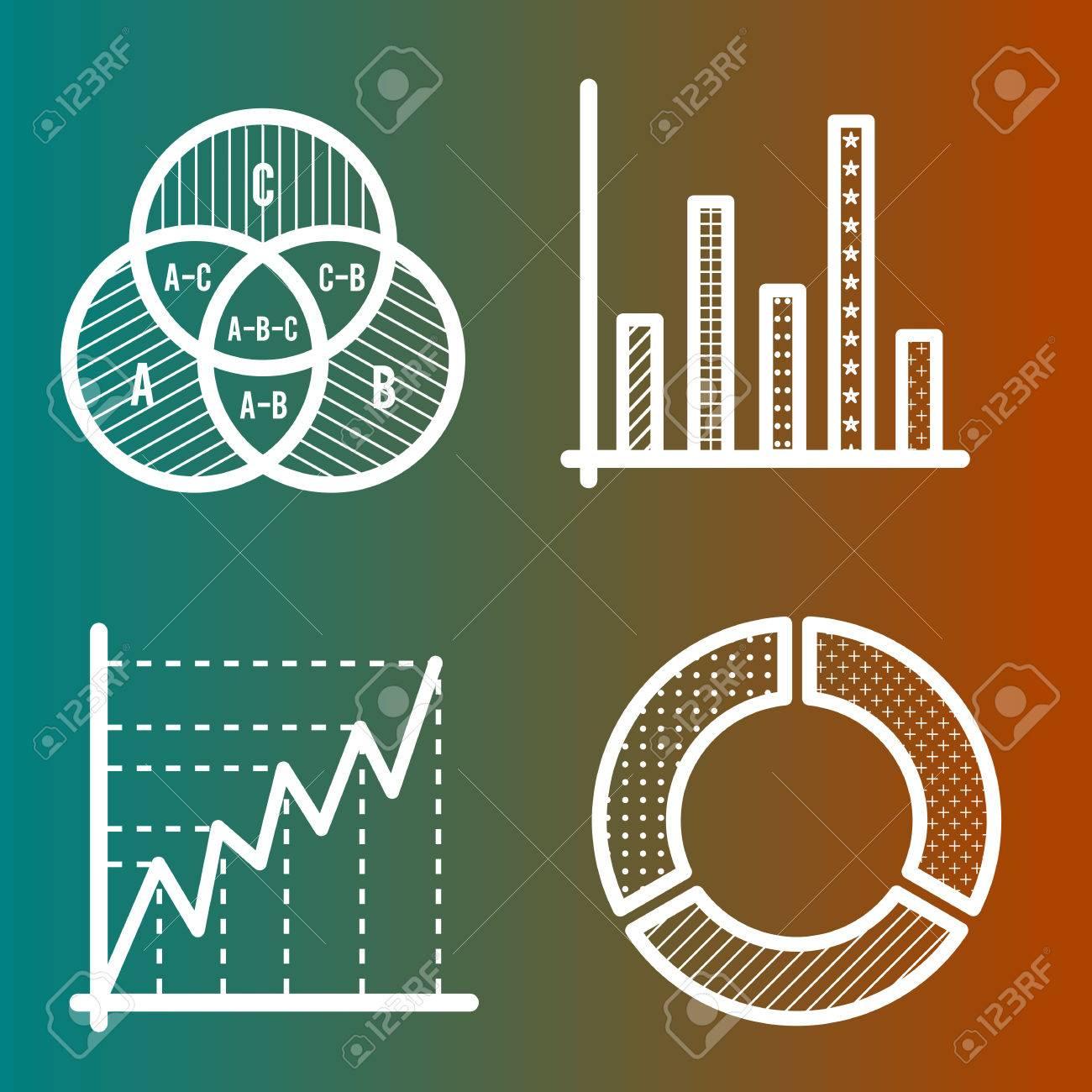 Set of business line icons circle diagram venn diagram bar set of business line icons circle diagram venn diagram bar chart stock vector ccuart Choice Image