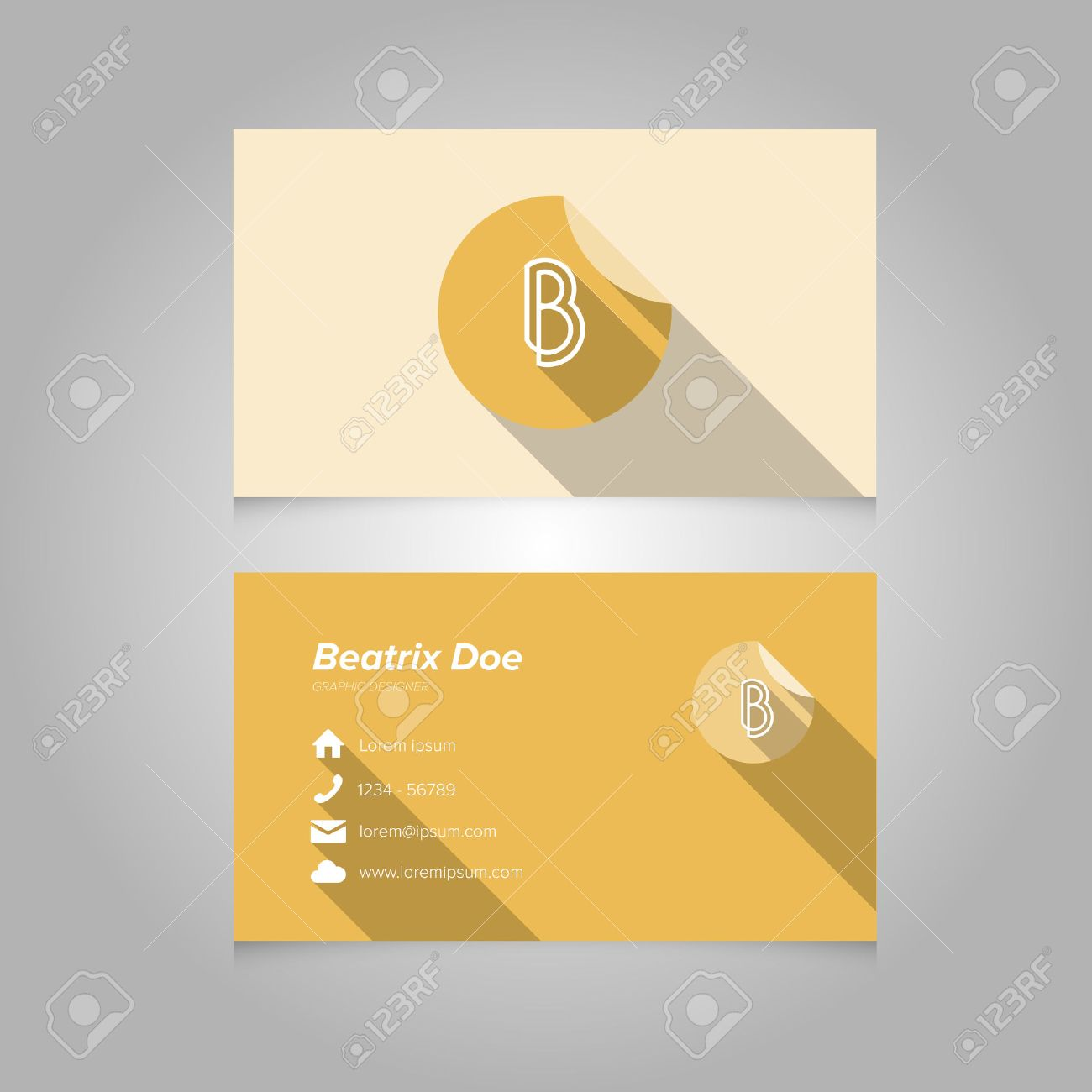 Simple Business Card Template With Alphabet Letter B - Flat Design ...