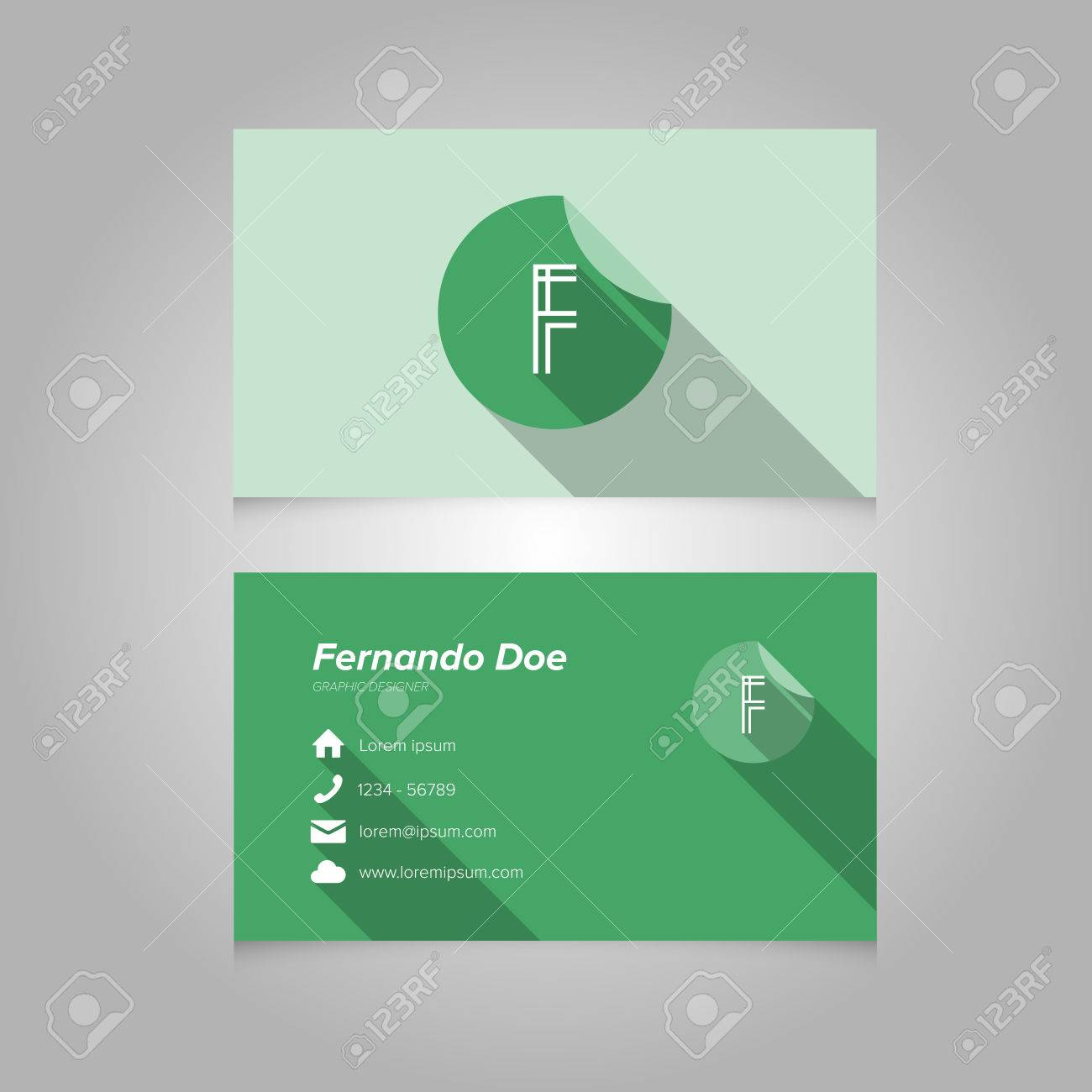 Simple Business Card Template With Alphabet Letter F - Flat Design ...