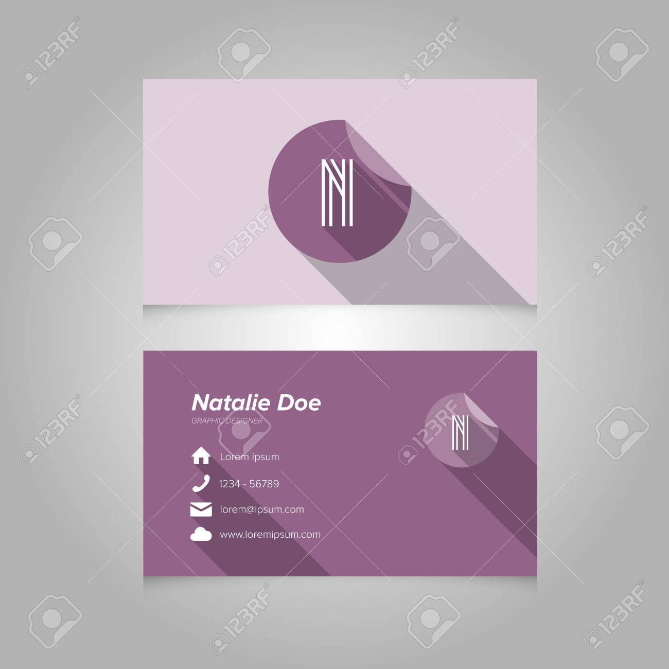 simple business card template with alphabet letter n flat design vector illustration stock vector - Simple Business Card Design