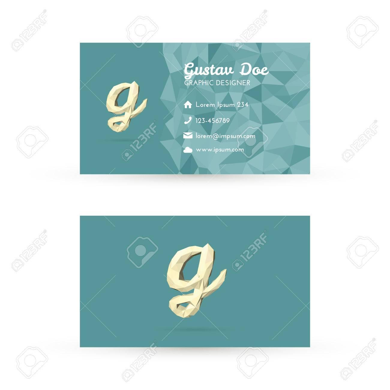 Modle Low Poly Carte De Visite Avec Initiales Lettre G