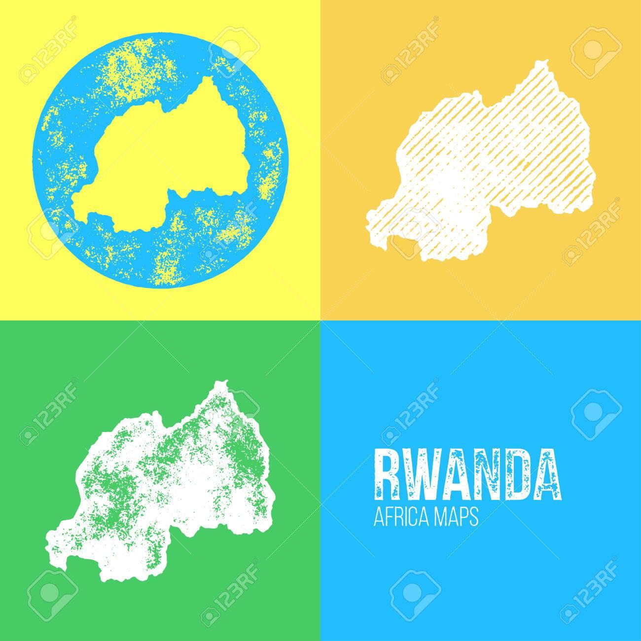 Rwanda Grunge Retro Maps Africa Three Silhouettes Rwanda