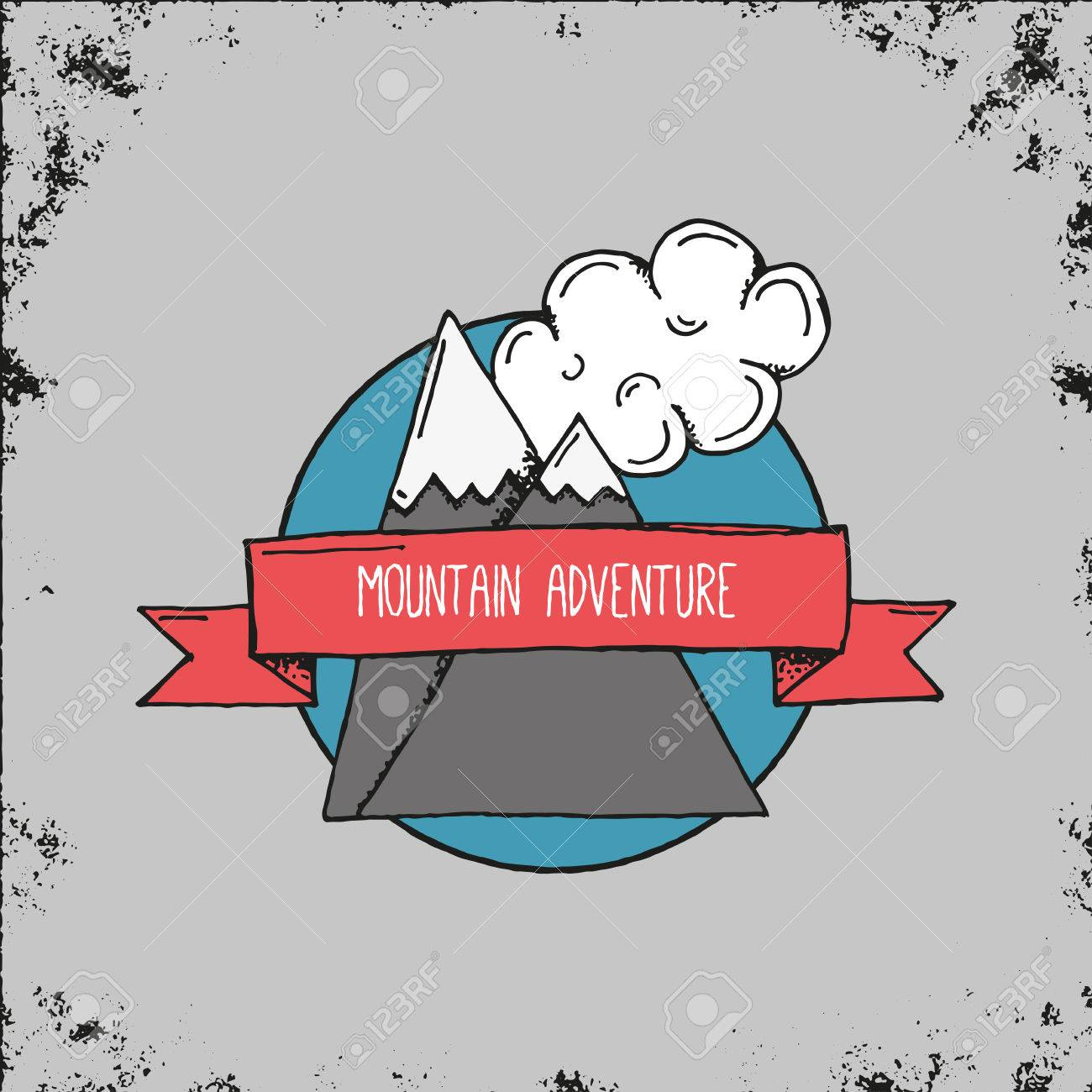 Hand drawn mountain adventure emblem or logo outdoor adventure hand drawn mountain adventure emblem or logo outdoor adventure landscape symbol with two rocks and biocorpaavc