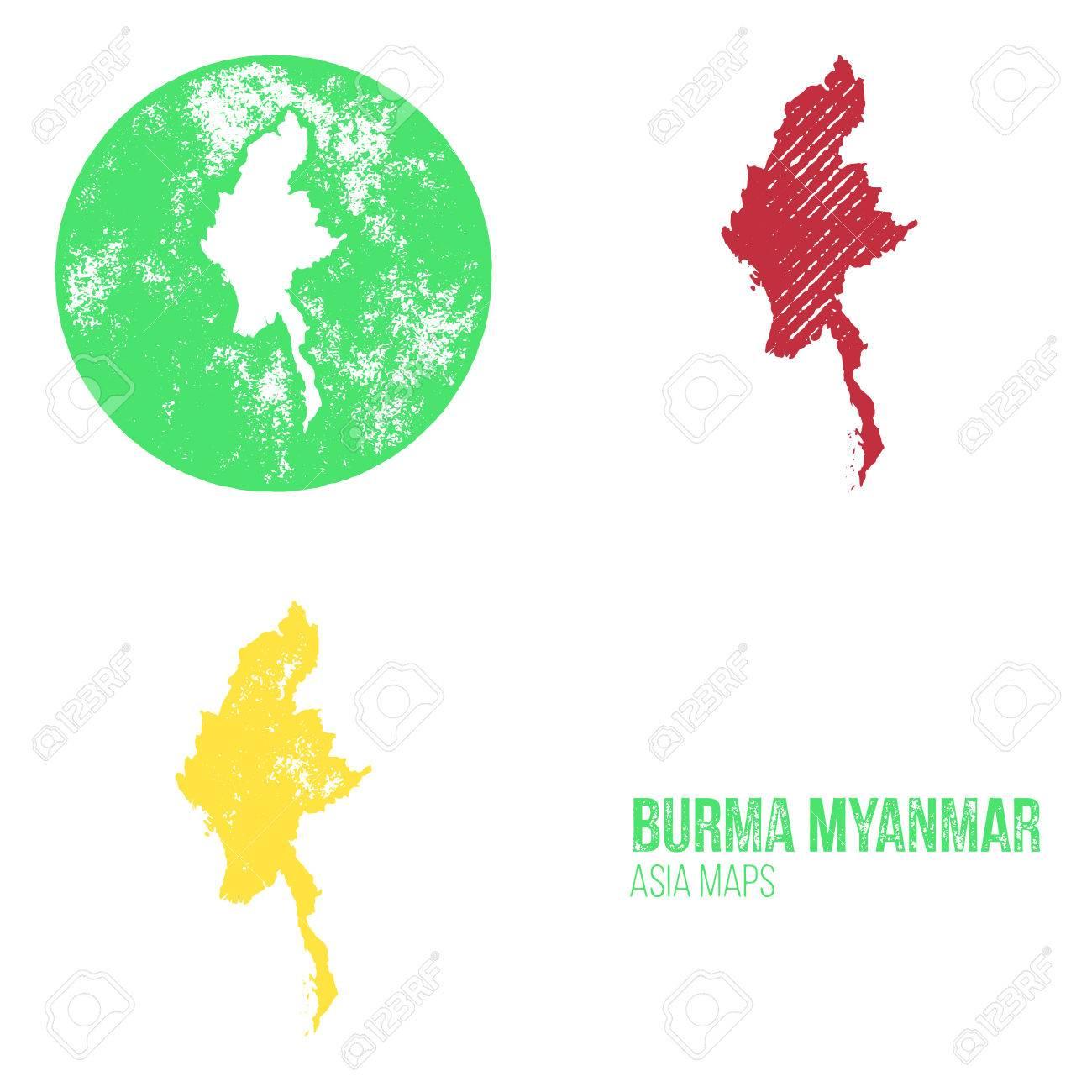 Myanmar On Map Of Asia.Burma Myanmar Grunge Retro Maps Asia Three Silhouettes Burma