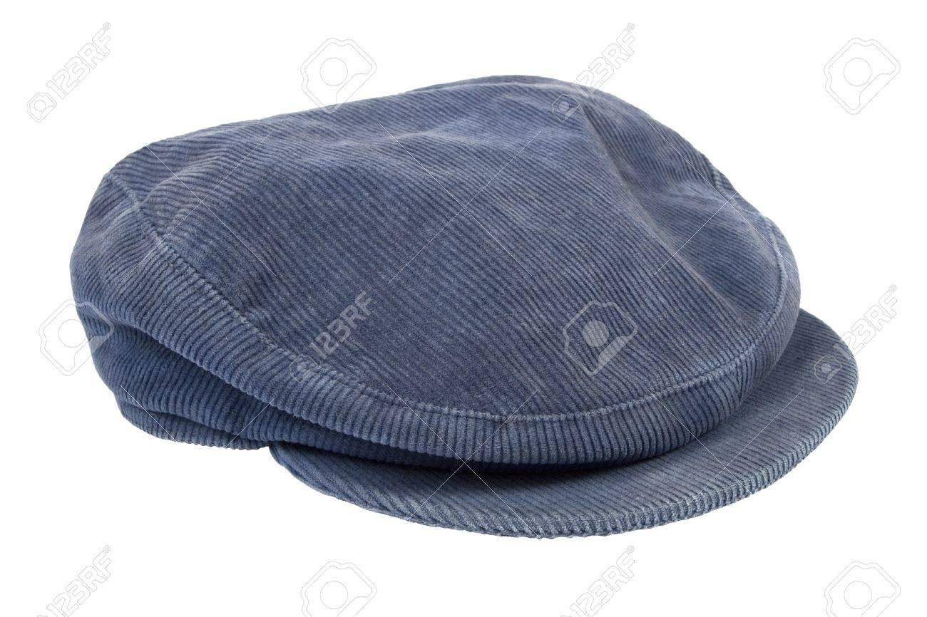 Blue corduroy cap isolated on white background Stock Photo - 14554987 7e97a39e4d2