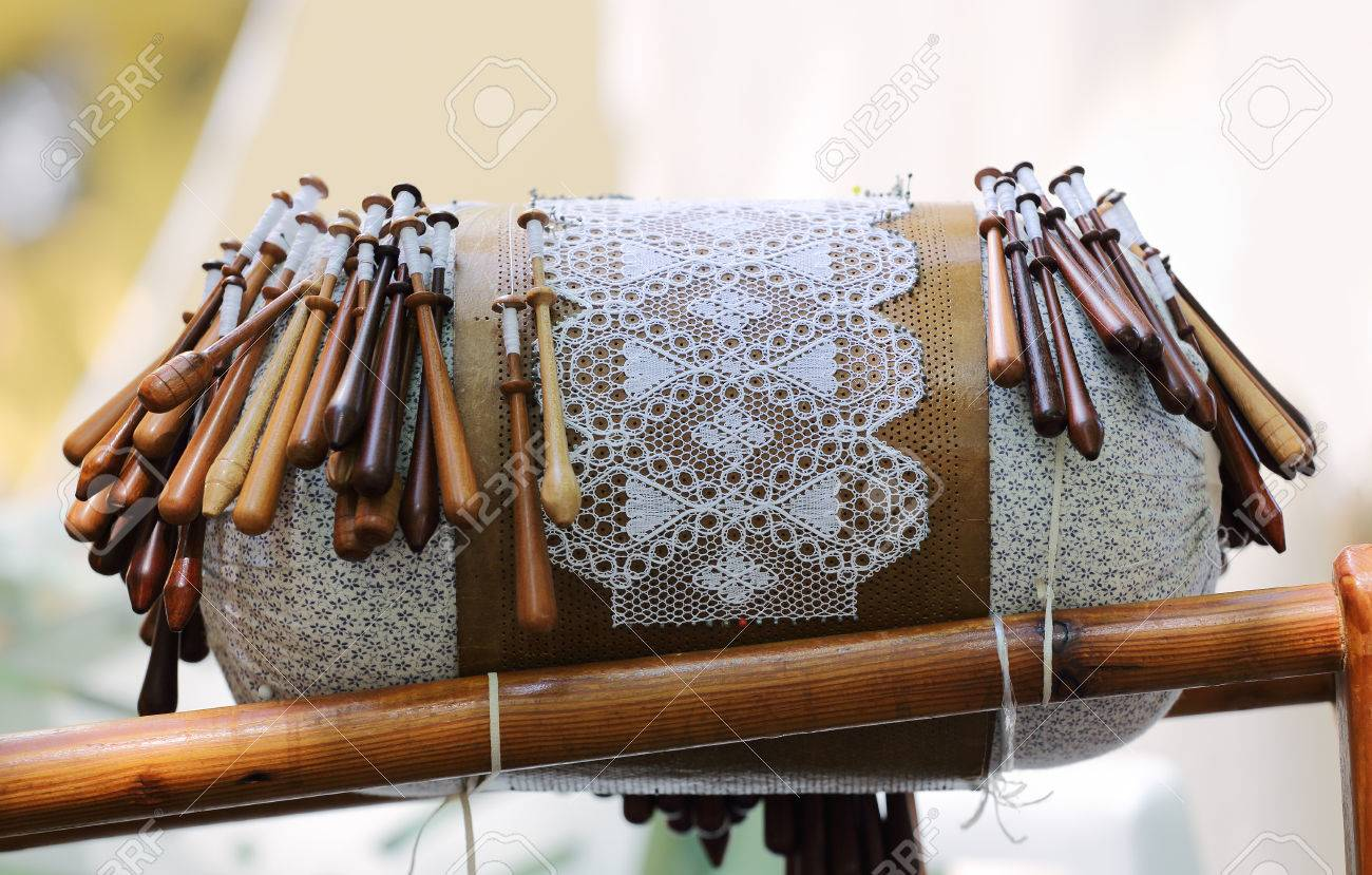 Bobbin Lace Making Pillows Bobbins on Lace Pillow