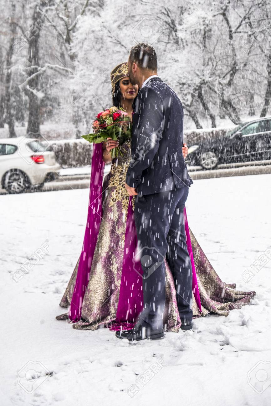 Happy Couple In Traditional Turkish Wedding Dress During Their ...