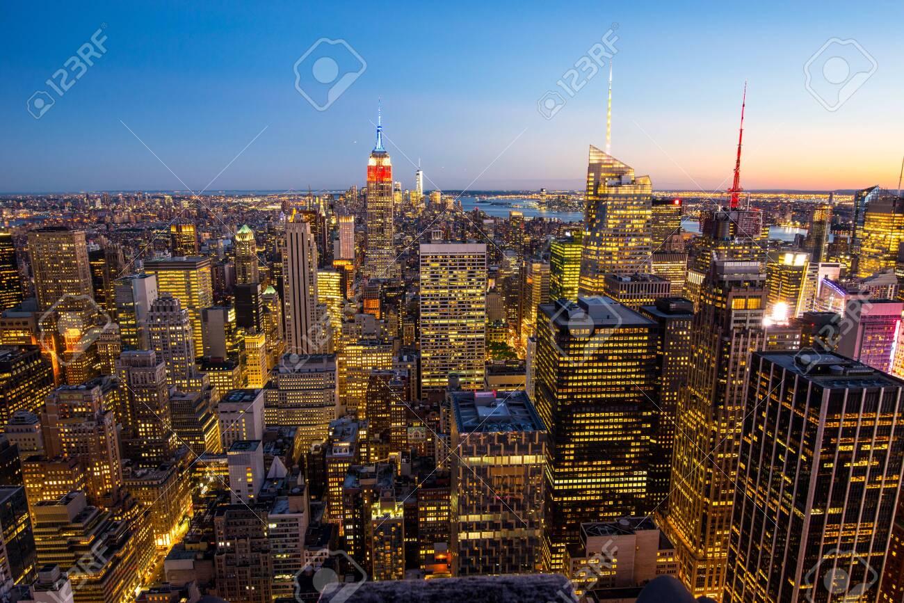 View of Manhattan skyline after sunset, New York City - 128377933