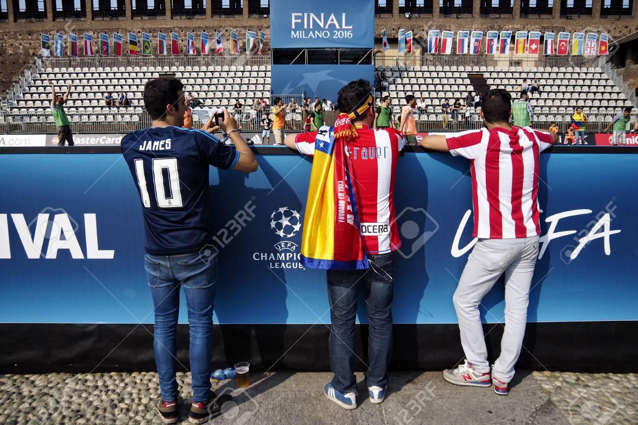 Milán Italia 28 De Mayo De 2016 La Final De La Uefa Champions League 2016 Esta Noche Se Jugará En Milán En La Final De La Liga De Campeones En 2016 Real