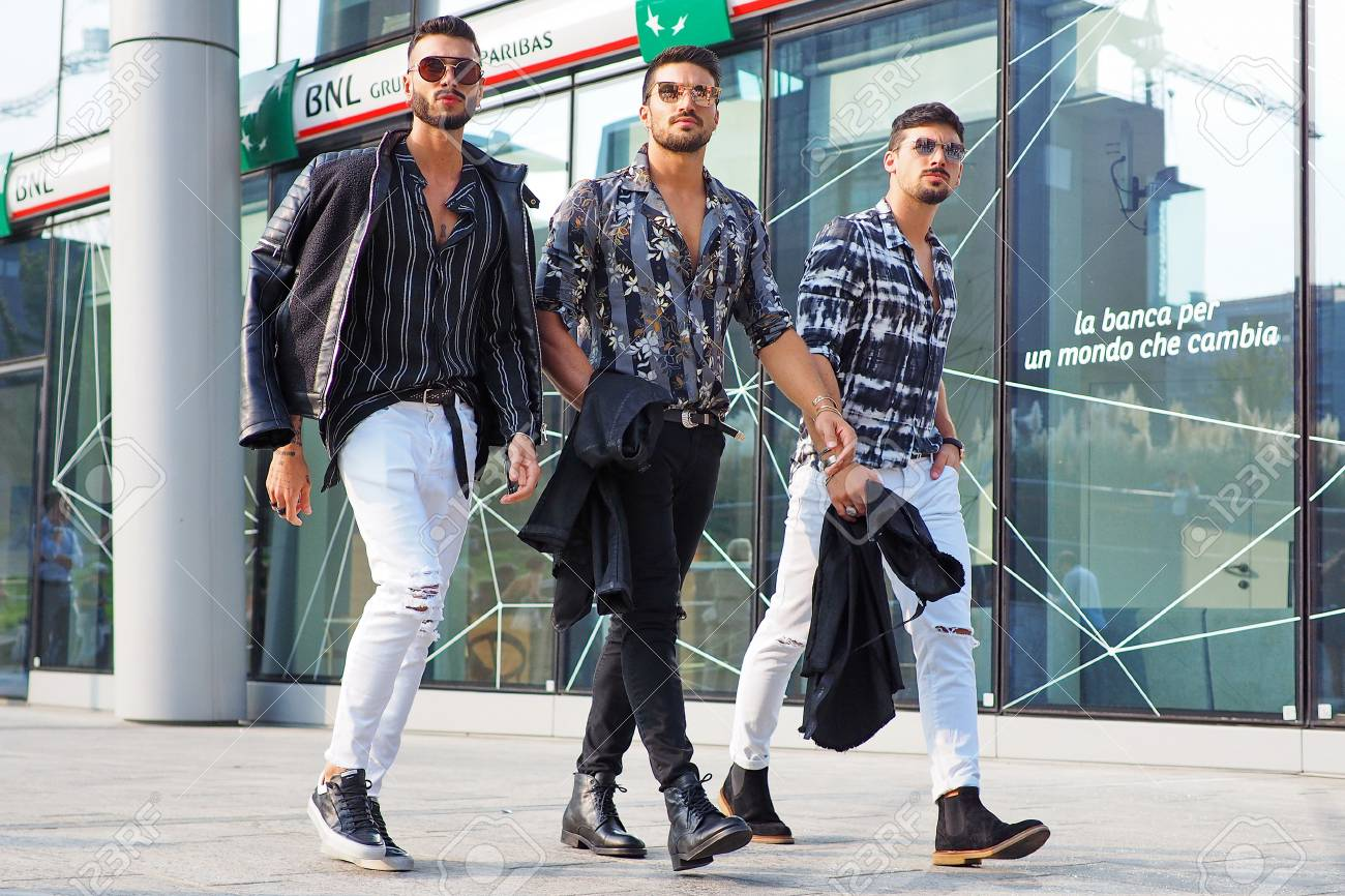 Milan Italy 19 September 2018 Fashionable Men Street Style