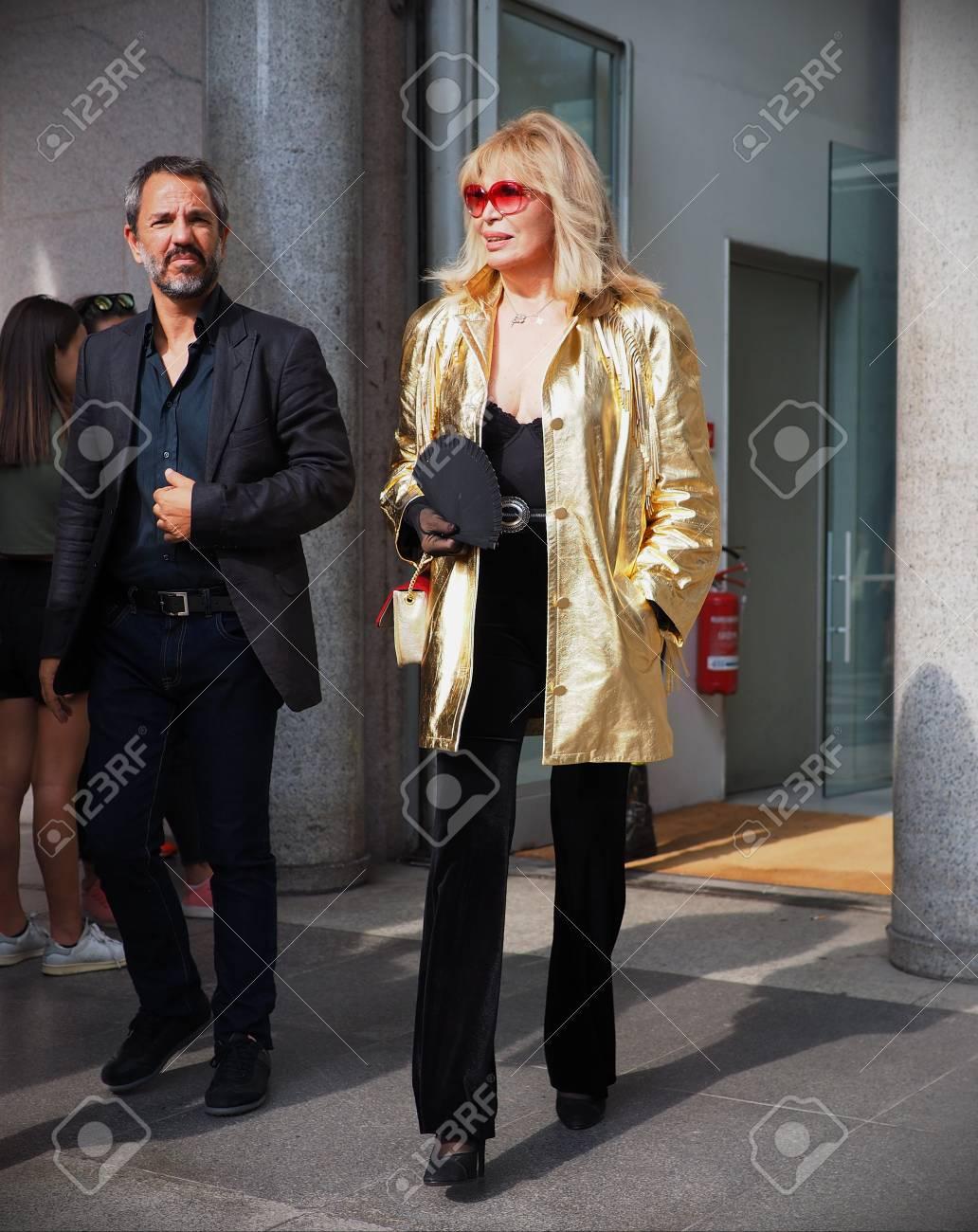Amanda Lear Photos milan, italy: september 22, 2018: amanda lear streetstyle outfit..