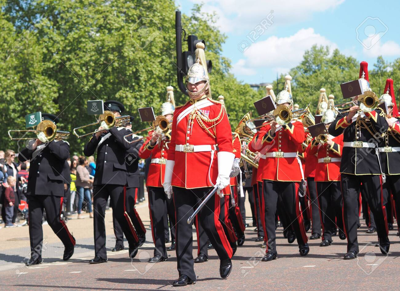 London, UK 12 May 2019: Cavalry British Army band play after