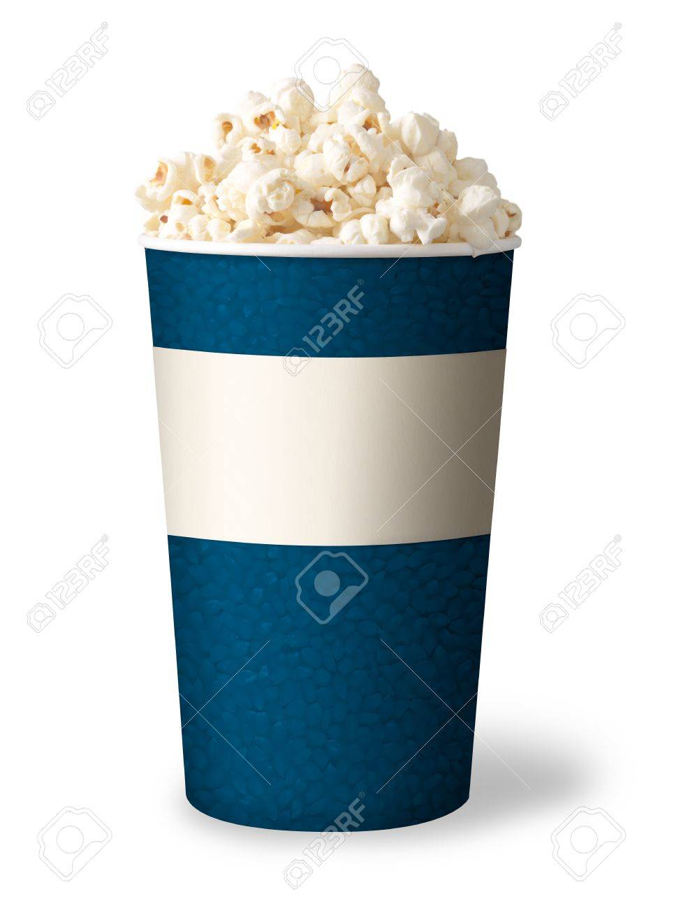 bucket of popcorn isolated on white background  blue color Stock Photo - 12873549