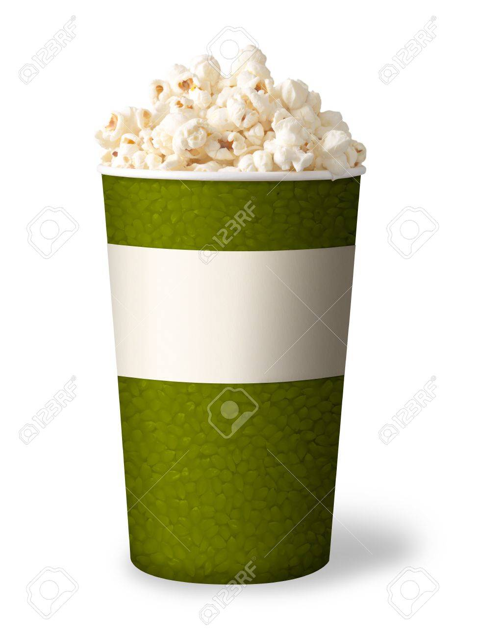 bucket of popcorn isolated on white background  green color Stock Photo - 12873602