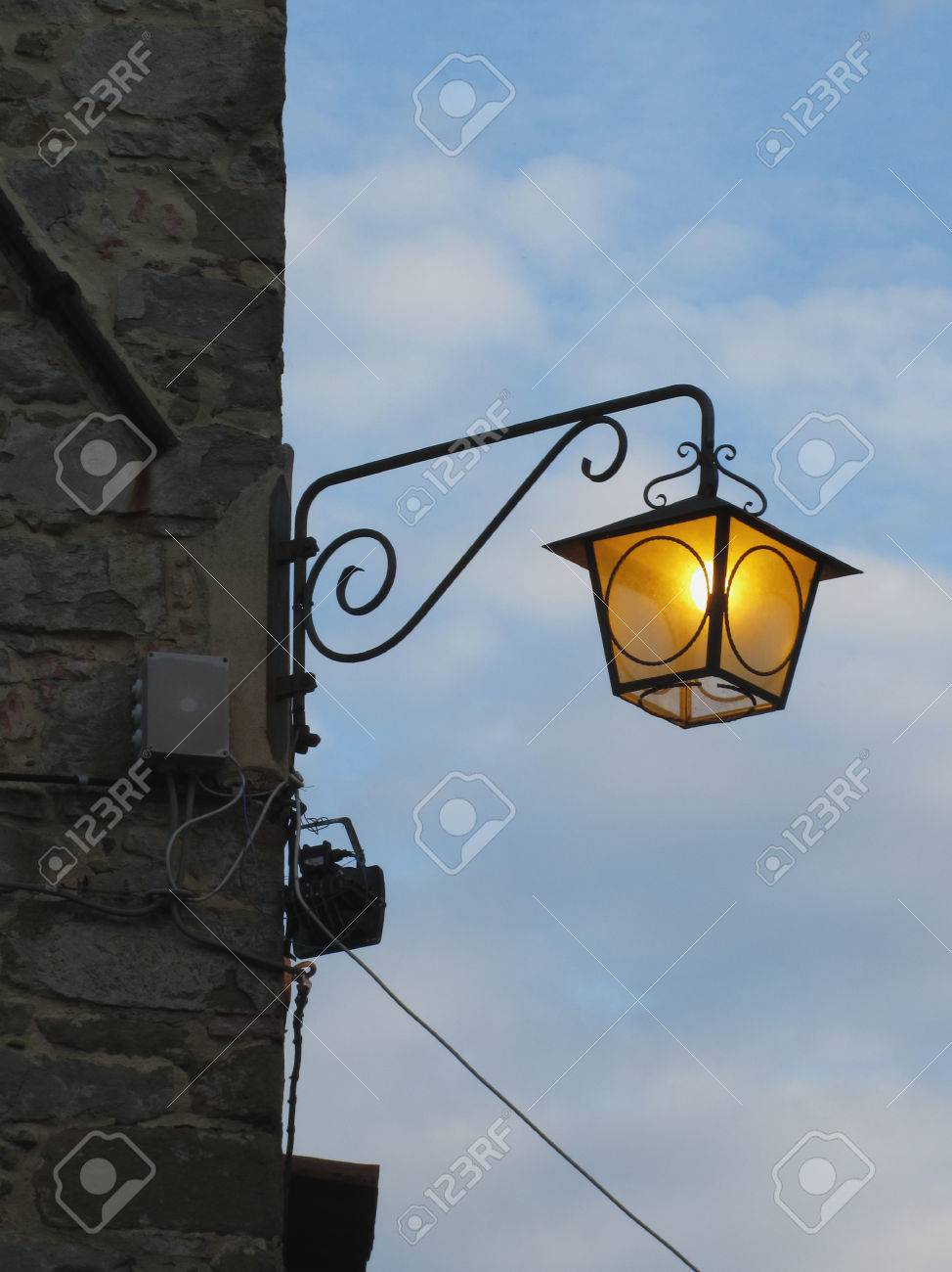 Vintage Street Lamp In Medieval Village At Twilight. Tuscany, Italy Stock  Photo   47405275