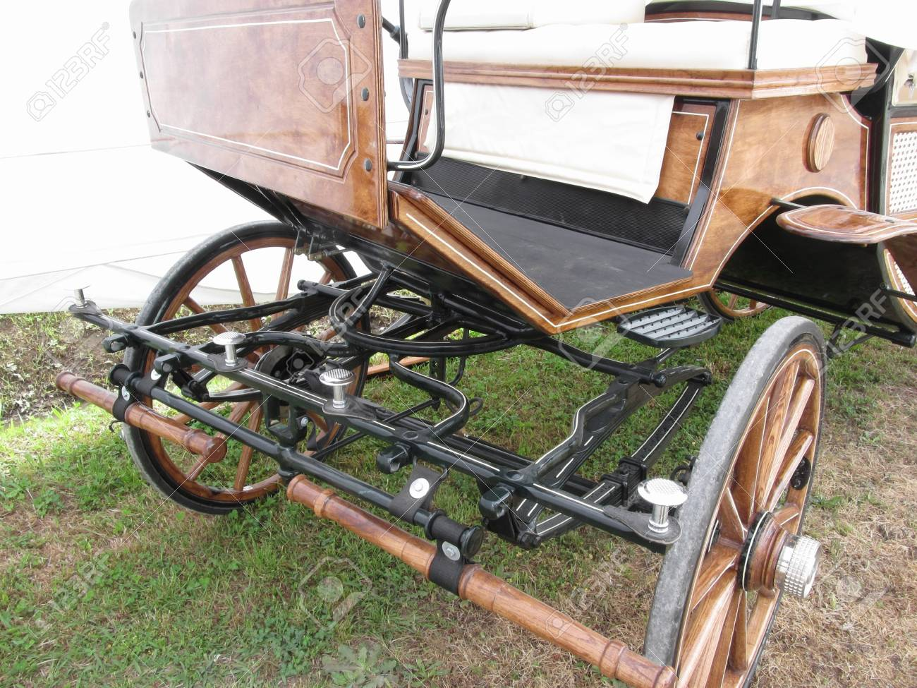 Front View Of Old-fashioned Horse Carriage On Green Grass Stock ...