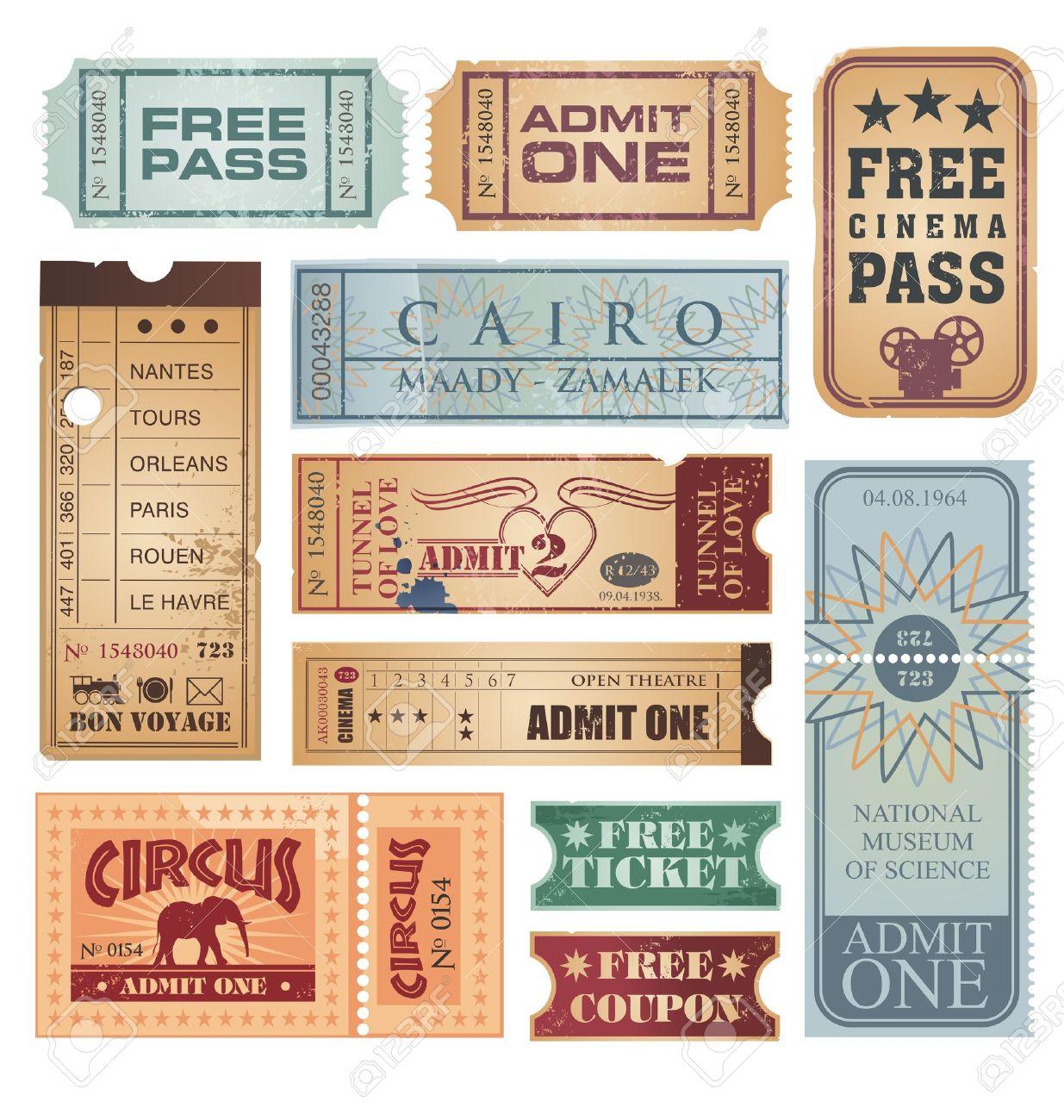 Vintage and retro tickets set - 15977811