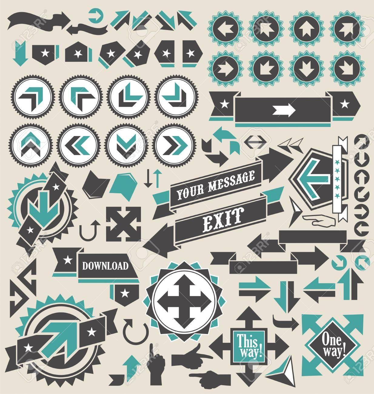 Retro arrows icon set Stock Vector - 16714736