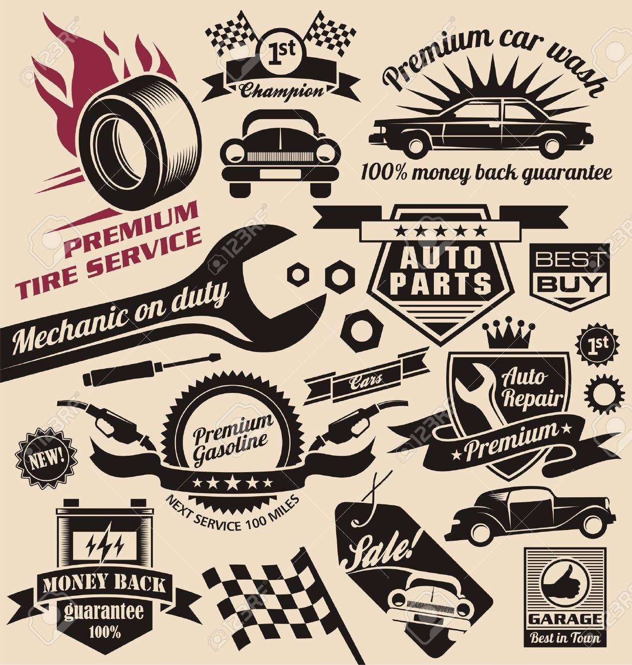 set of vintage car symbols and logos Stock Vector - 17432879