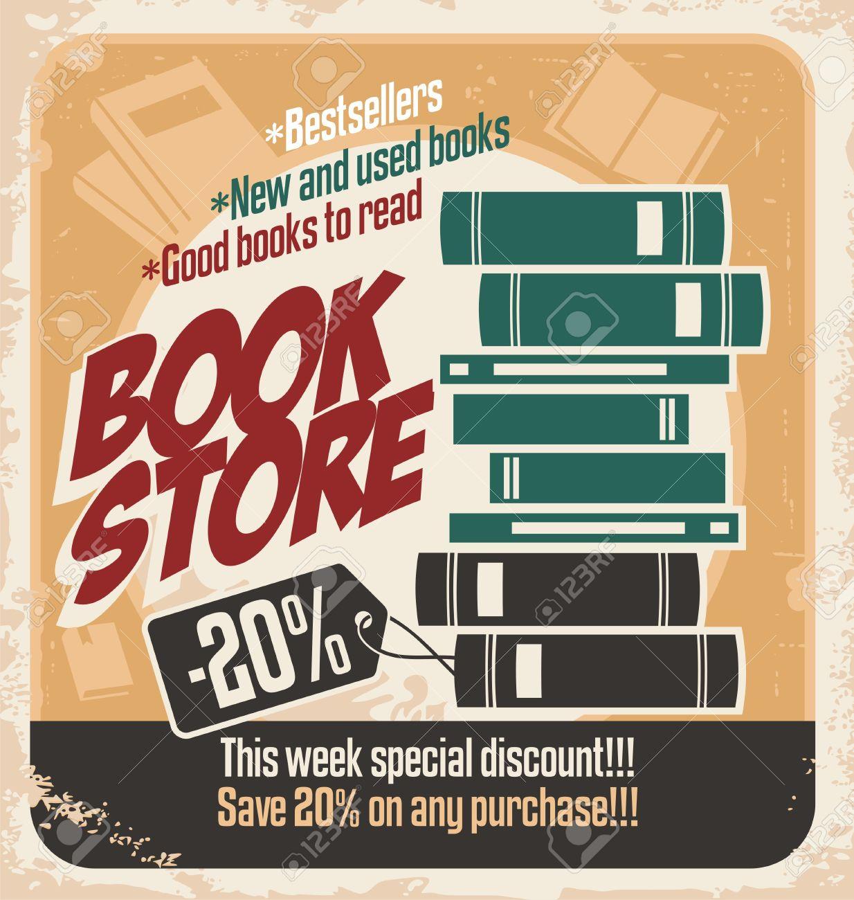 Design poster retro - Retro Bookstore Poster Design Vintage Poster Template With Books Stock Vector 17758259