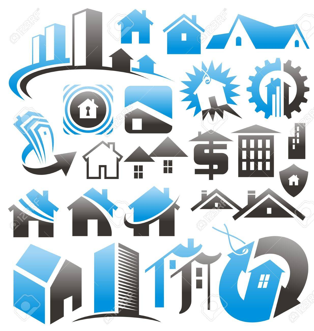 Set of house icons, symbols and signs Stock Vector - 17999072