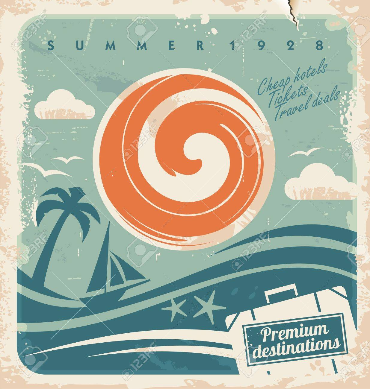 Vintage summer holiday poster. Vector template for travel agency. Retro hotel advertising background with old paper pattern. Stock Vector - 18133612
