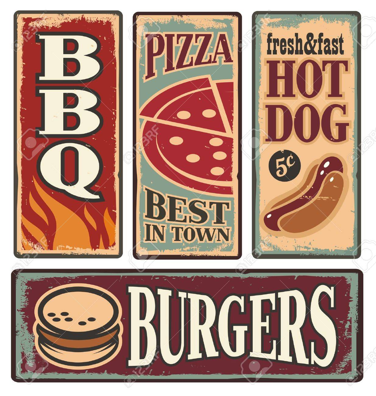 Vintage fast food tin signs Stock Vector - 20847288
