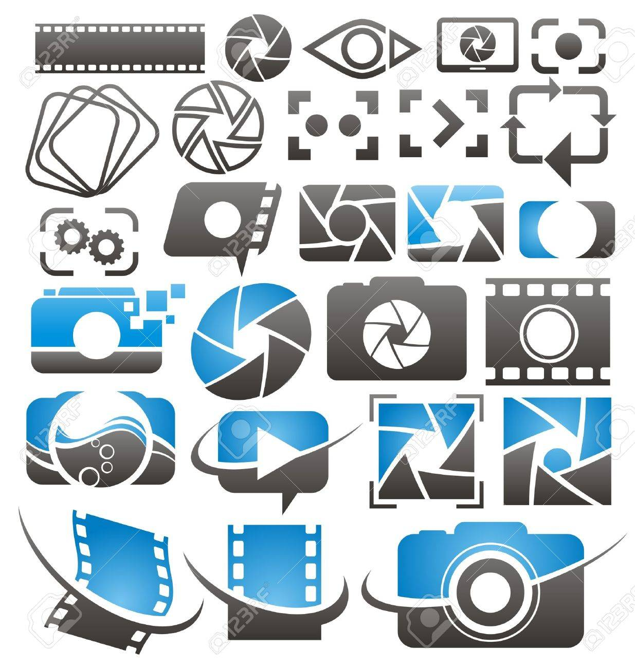 Set of  photography and video icons, symbols and signs  Photo and camera design elements collection Stock Vector - 21331273