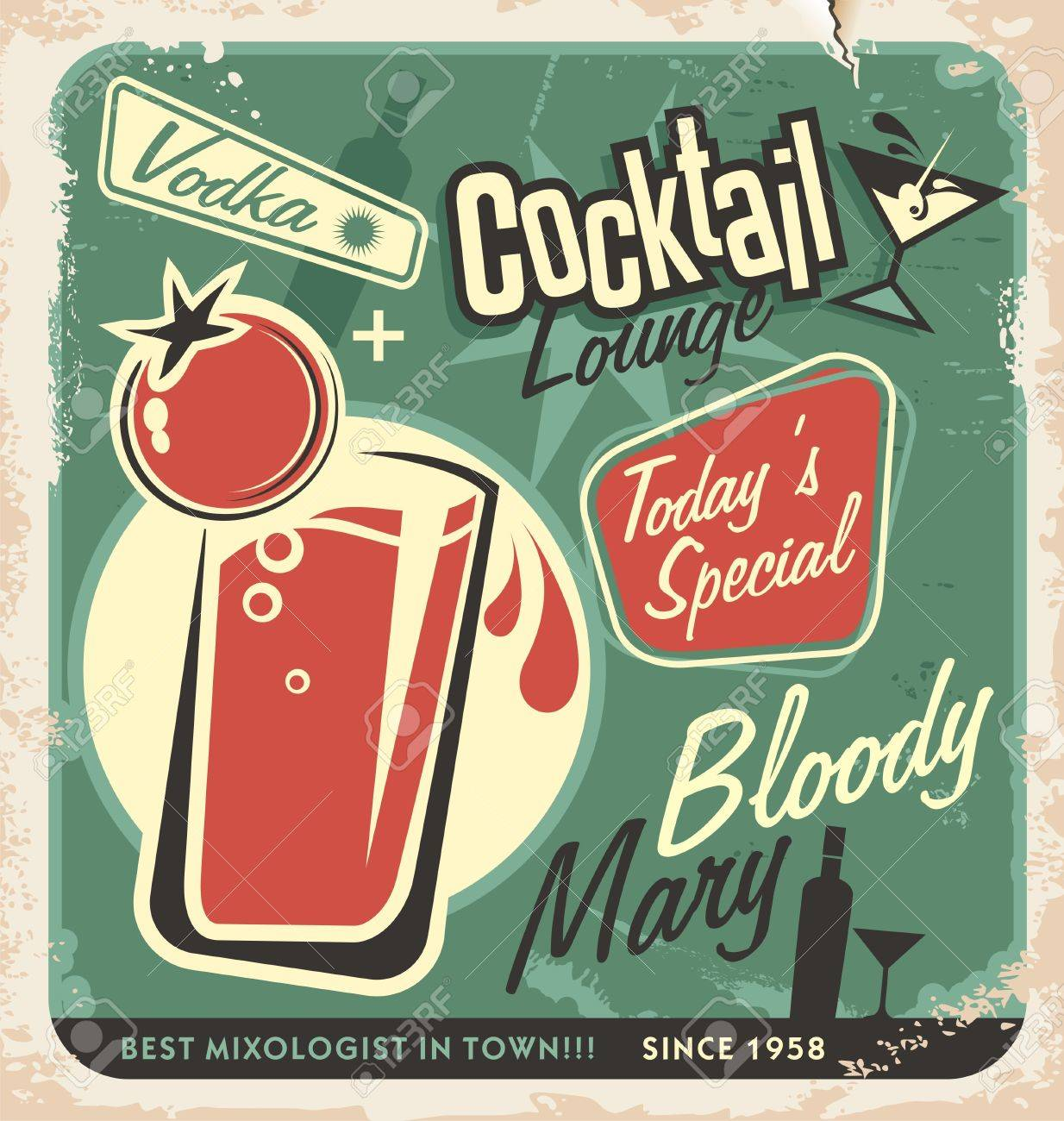 Promotional retro poster design for one of the most popular cocktails Bloody Mary Vintage cocktail bar design with special daily offer Food and drink concept on scratched old textured paper - 21331455