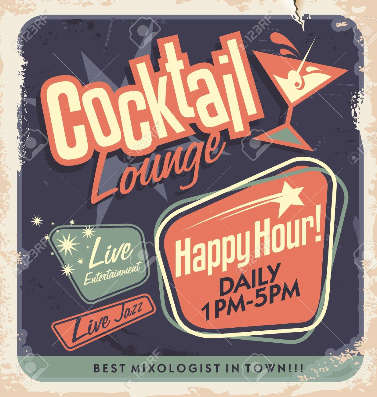 Retro poster design for cocktail lounge Cocktail party vector concept Vintage card design on old paper texture for bar or restaurant Food and drink concept - 21331456
