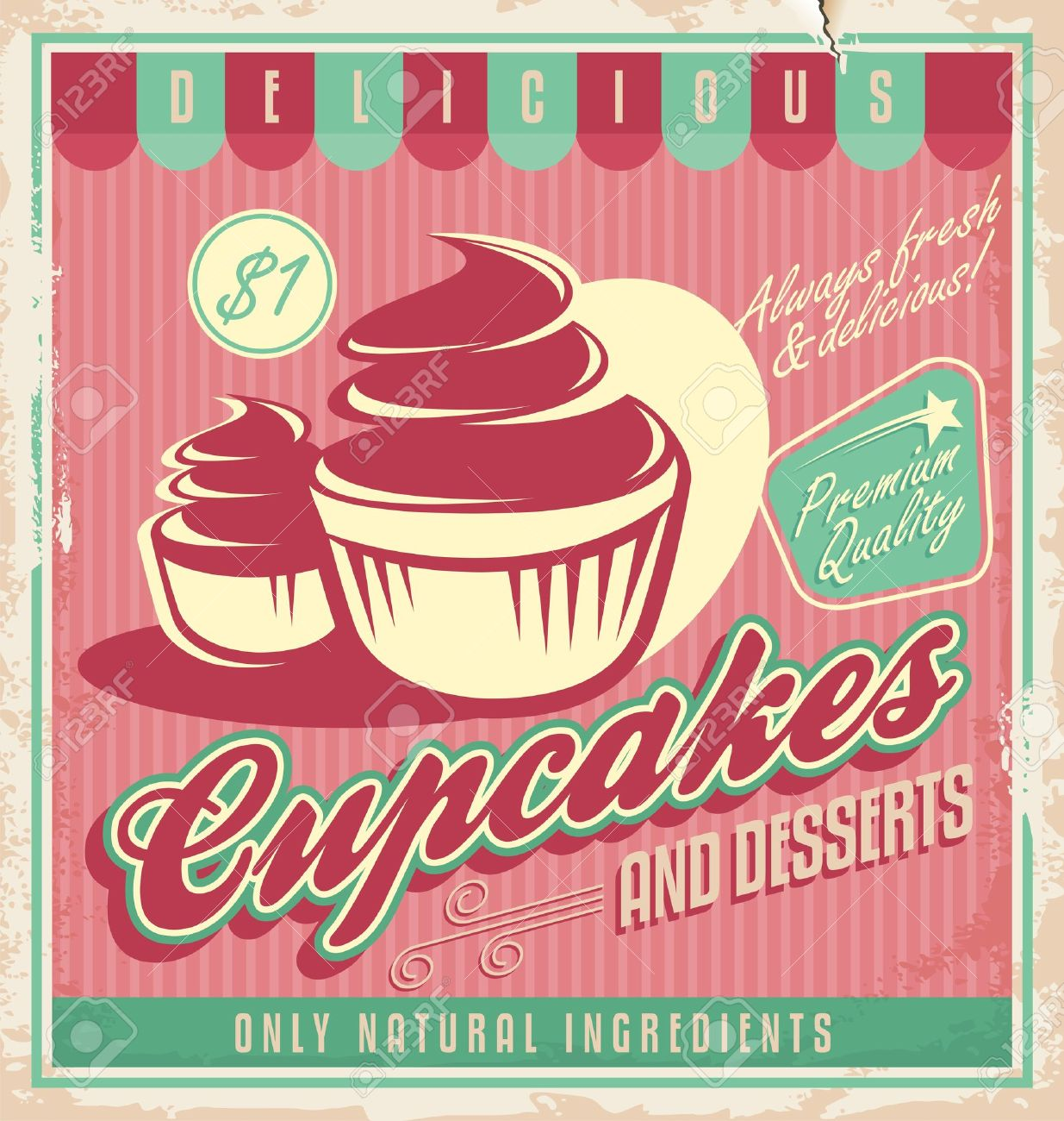 cake shop sign stock vector illustration and royalty cake shop sign cupcakes vintage poster design illustration