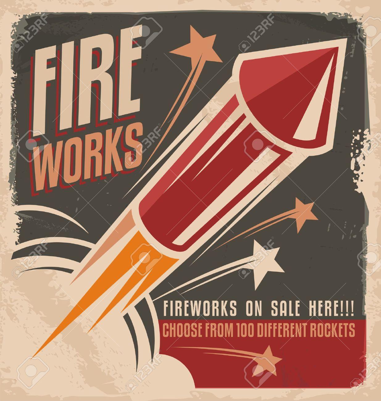 Poster design 1950 - 1950s Vintage Fireworks Poster Design Illustration