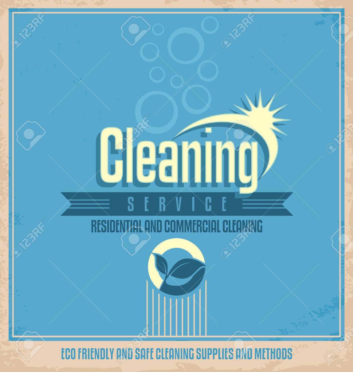 Poster design vintage - Vector Vintage Poster Design For Cleaning Service
