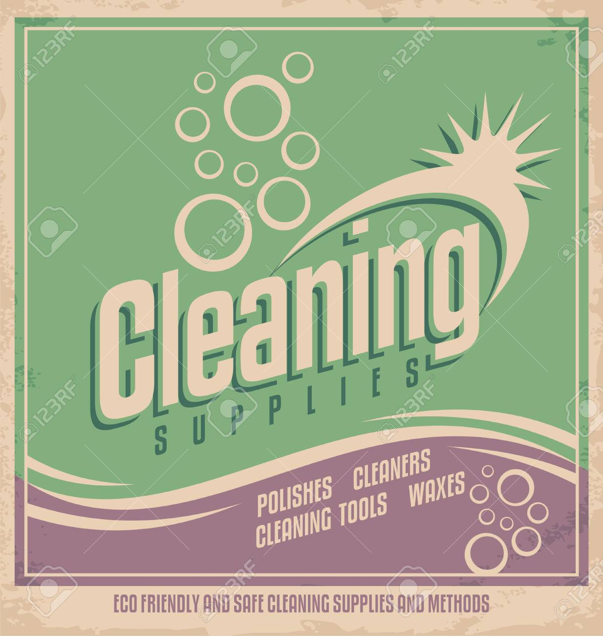 Poster design tools - Vintage Poster Design For Cleaning Service Stock Vector 24916329