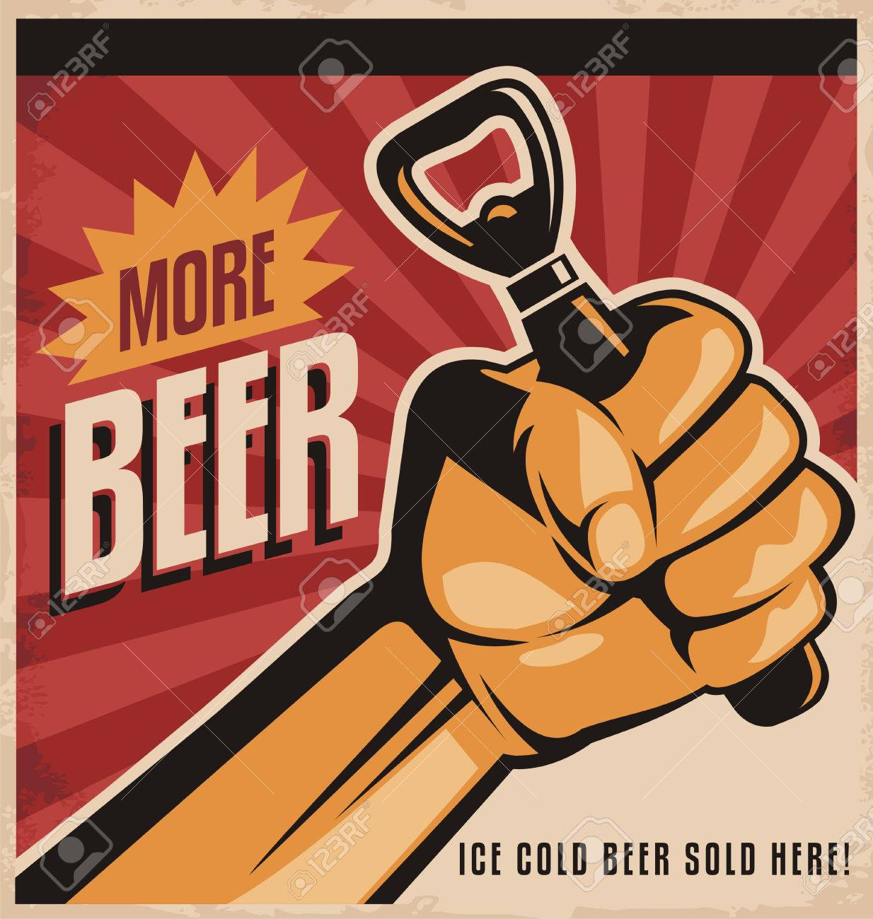 Beer Retro Poster Design With Revolution Fist Stock Vector