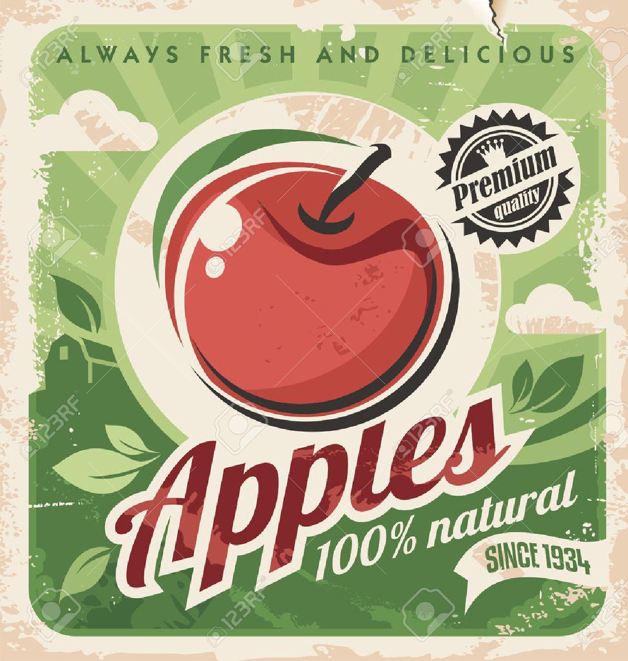 Apple vintage poster design - 26074776