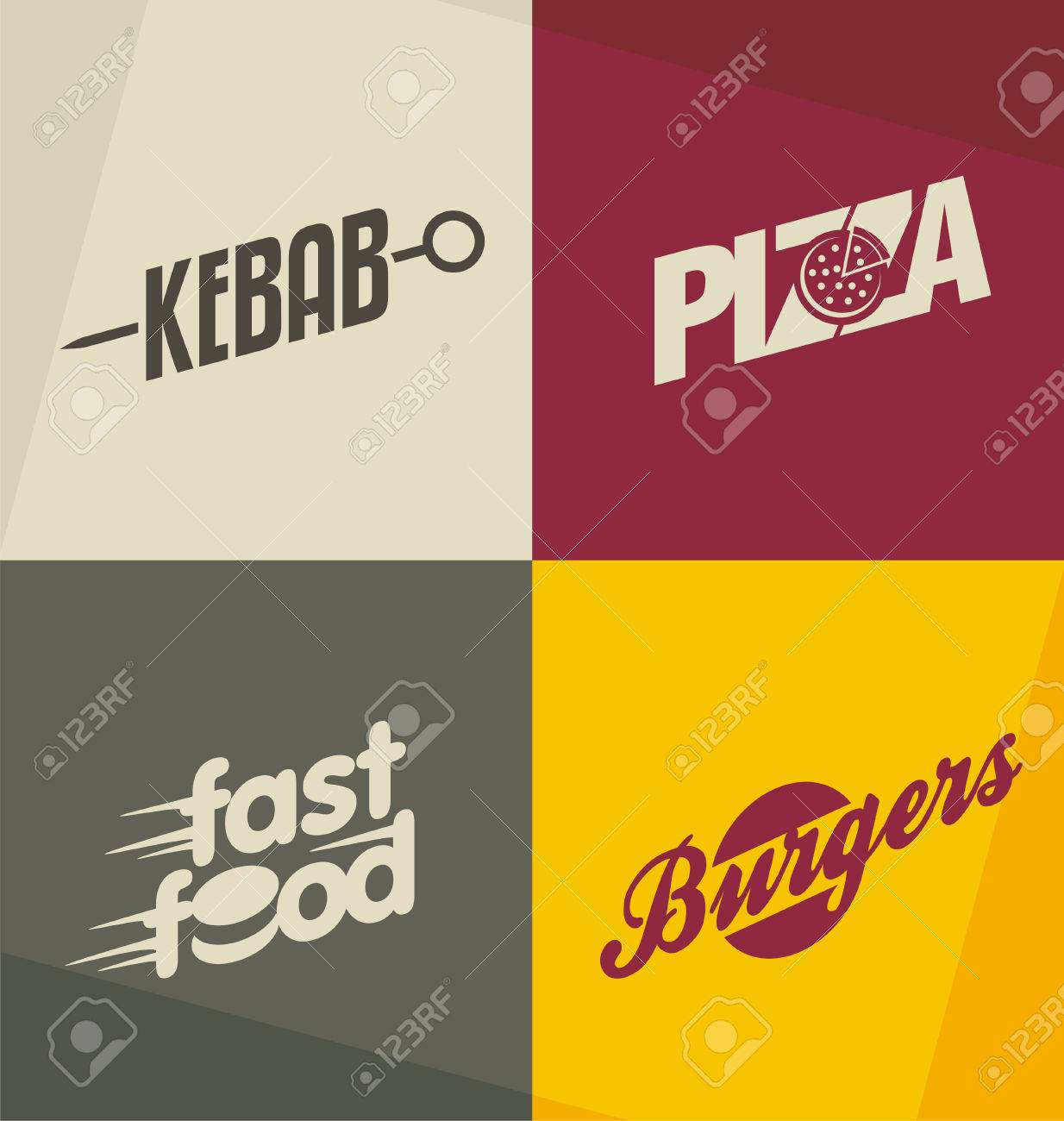 Set Of Unique Fast Food Design Concepts And Ideas Stock Vector
