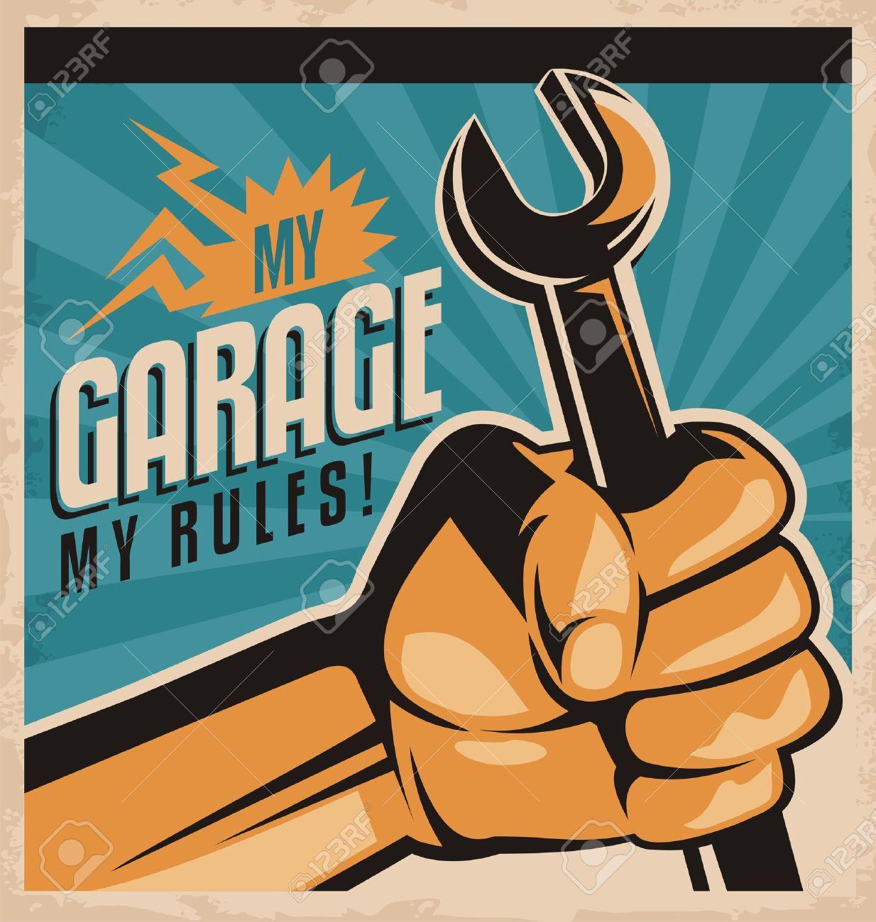 Poster design tools - Garage Tools Retro Garage Poster Illustration