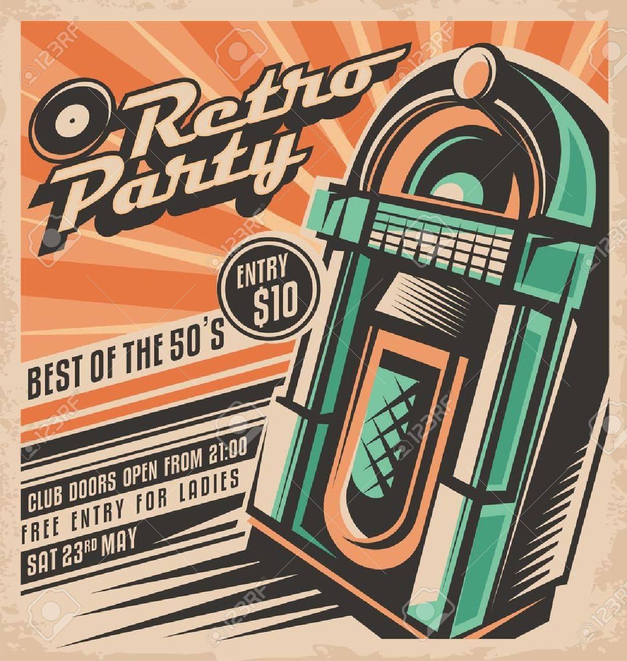 Retro Party Invitation Design Royalty Free Cliparts, Vectors, And ...