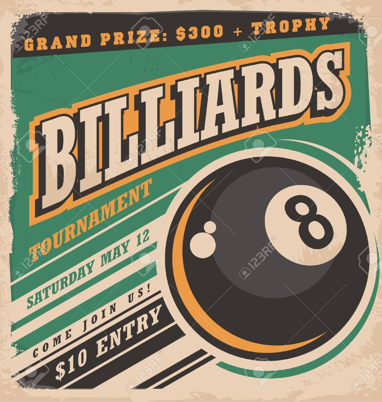 conception de l'affiche Retro pour le billard tournoi Banque d'images - 46909123