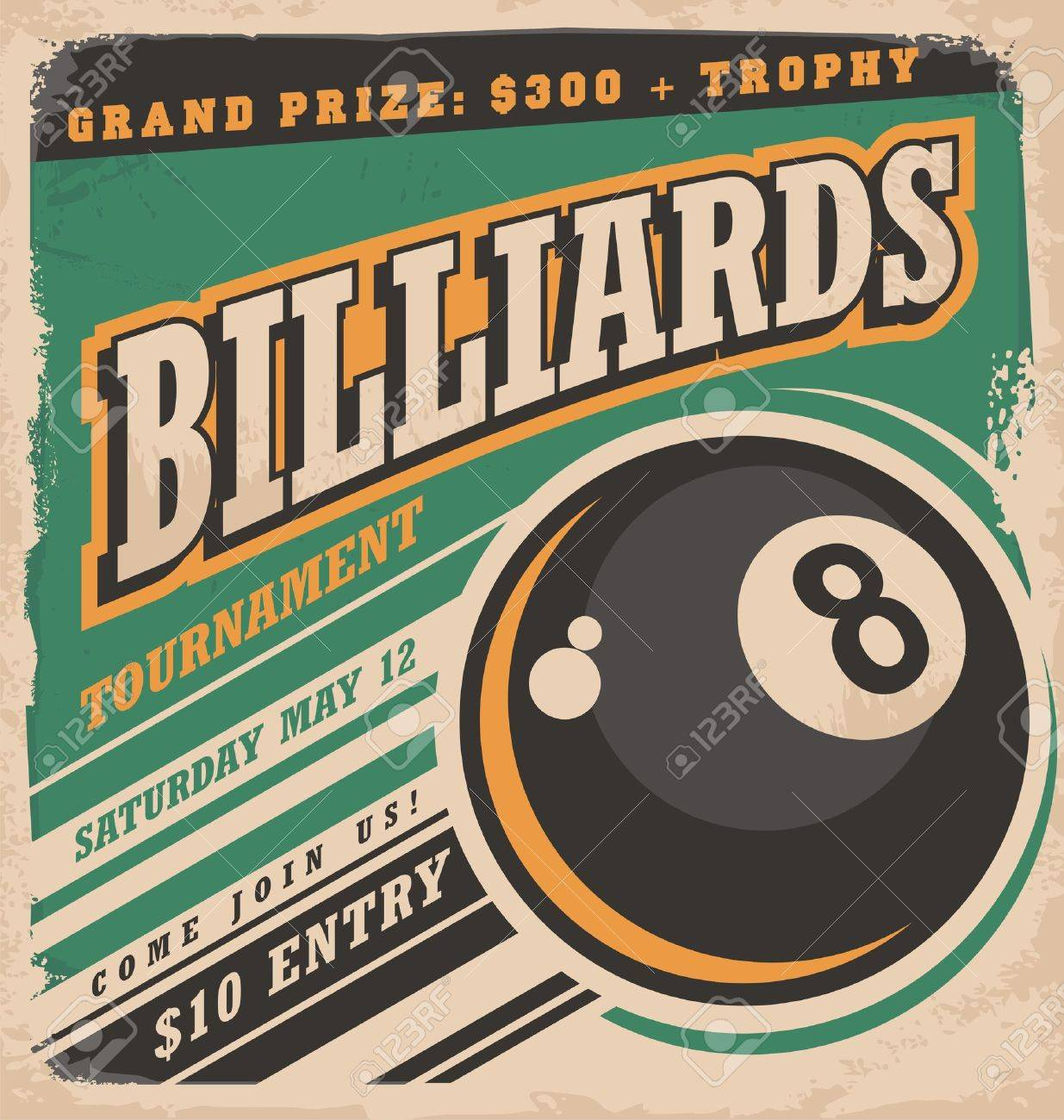 Retro poster design for billiards tournament Banque d'images - 46909123