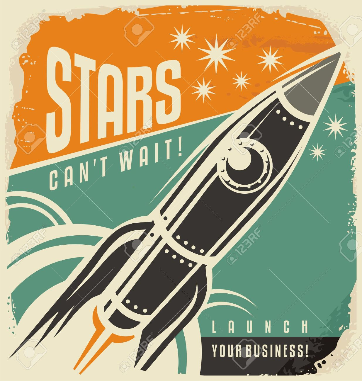 Retro poster with rocket launch Stock Vector - 48862464