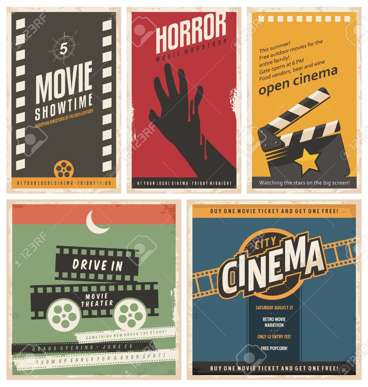retro cinema posters and flyers collection royalty free cliparts