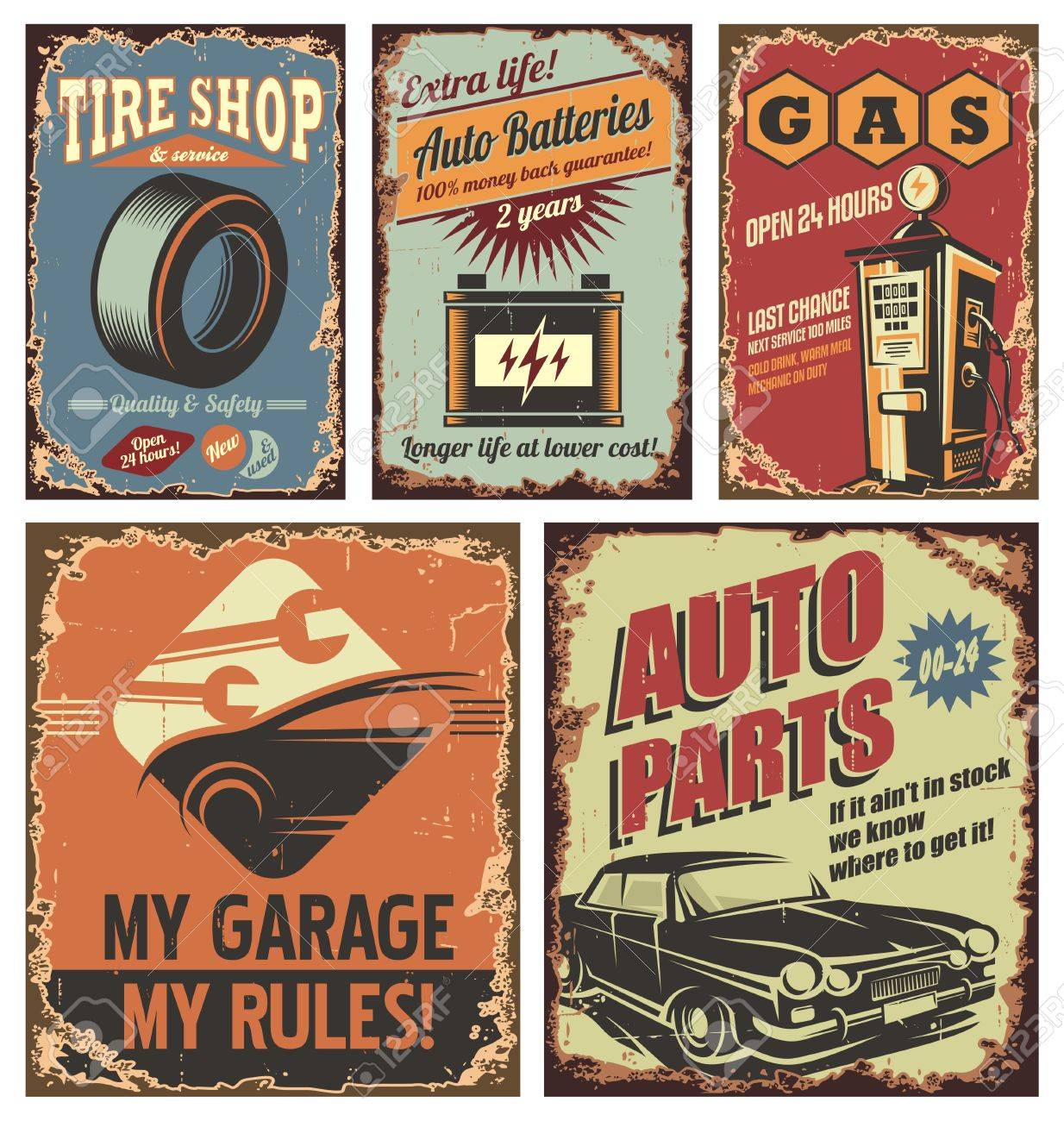 Vintage car service tin signs and posters on old rusty background - 50251420