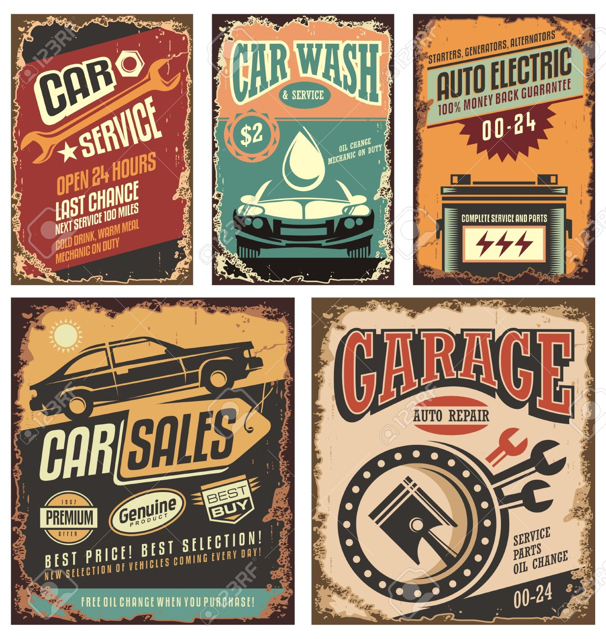 Vintage Car Service Metal Signs And Posters Royalty Free Cliparts ...